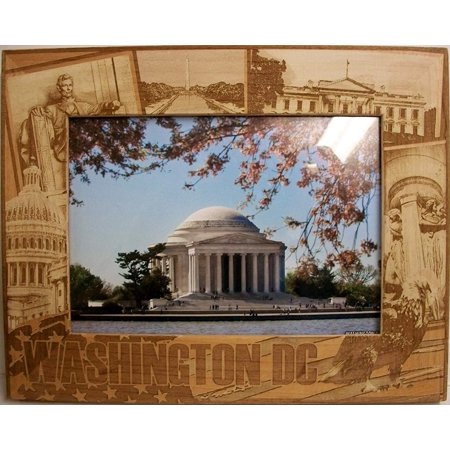 Washington D.C. Montage Laser Engraved Wood Picture Frame (5 x -