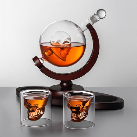 Whiskey Decanter Set Skull Vodka Globe Decanter With 2 Glasses Liquor Dispenser With Wood Stand For Scotch Bourbon Walmart Canada