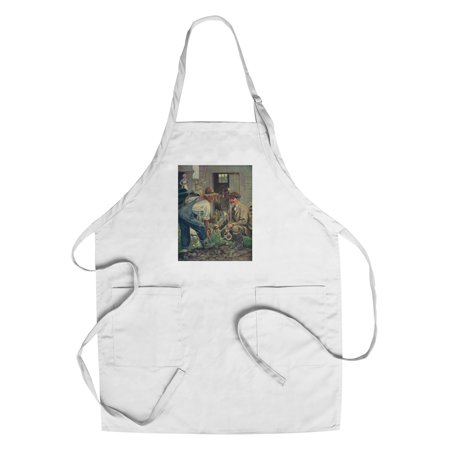 National Sportsman   Man Gathering Worms For Fishing  Talking With Farmer  Farmers Wife  Cotton Polyester Chefs Apron
