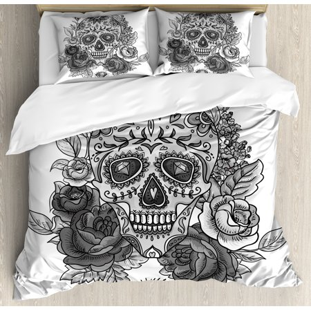 Sugar Skull Decor Queen Size Duvet Cover Set, Monochrome Skull Roses Leaves and Diamond Shape Folklore Festival, Decorative 3 Piece Bedding Set with 2 Pillow Shams, Grey Black White, by Ambesonne ()