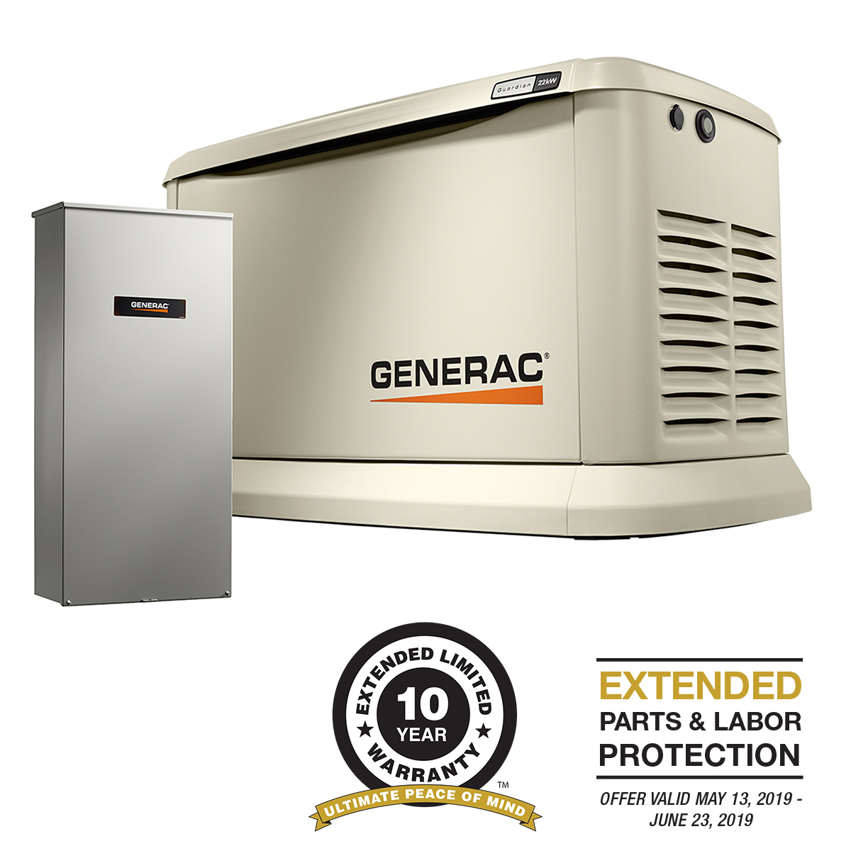 Generac 70432- 22-19 5 kW Air-Cooled Standby 200 SE Generator with Aluminum  Enclosure