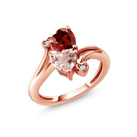 - 1.63 Ct Heart Shape Red Garnet Rose Rose Quartz 18K Rose Gold Plated Silver Ring