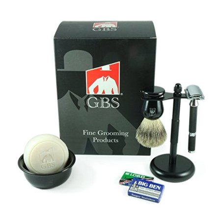 5 Piece Shaving Set -Comes with Gift Box- Rubber Coated Long Handle Razor, Pure Badger Brush, Black Matte Brush and Razor Stand, Gbs Ceramic Bowl, Gbs 3 Oz Ocean Driftwood Soap 97% Natural + 15