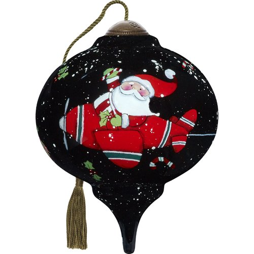 Precious Moments Ne'Qwa Petite Santa Takes Flight Marquis Shaped Ornament