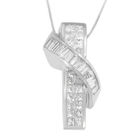 14K White Gold 2 2/5 CTTW Princess and Baguette Cut Diamond Wrap Pendant Necklace (H-I, SI1-SI2)