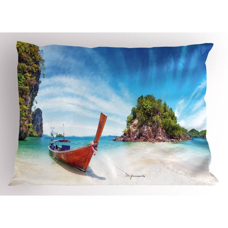 Tropical Pillow Sham Surreal Beach in Thailand with an Old Wooden Boat Island Ocean Picture, Decorative Standard Size Printed Pillowcase, 26 X 20 Inches, Fern Green Blue Cream, by Ambesonne - Ferns Long Beach