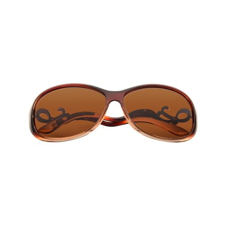 Women Polarized Sunglasses with 61mm Lens Bent Rhinestone Arm 100% UV Protection - Dark Brown Brn 1 Brown Sunglasses