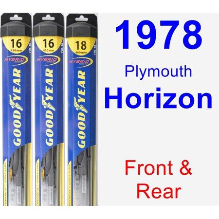 1978 Plymouth Horizon Wiper Blade Set/Kit (Front & Rear) (3 Blades) - Hybrid ()