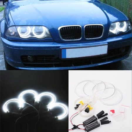 4PCS 131MM+146MM Reflector CCFL Angel Eye Rings 6000K Halo Light Lamp Kit for BMW 3 SERIES E46 Blue/White