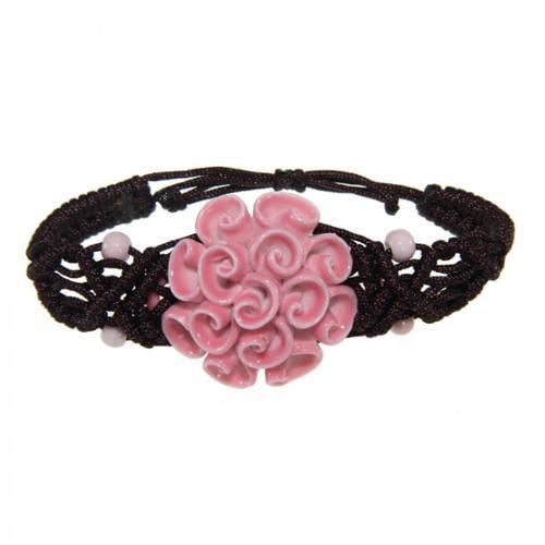 Zenses Handmade Ceramic Pink Flower Bracelet (China)