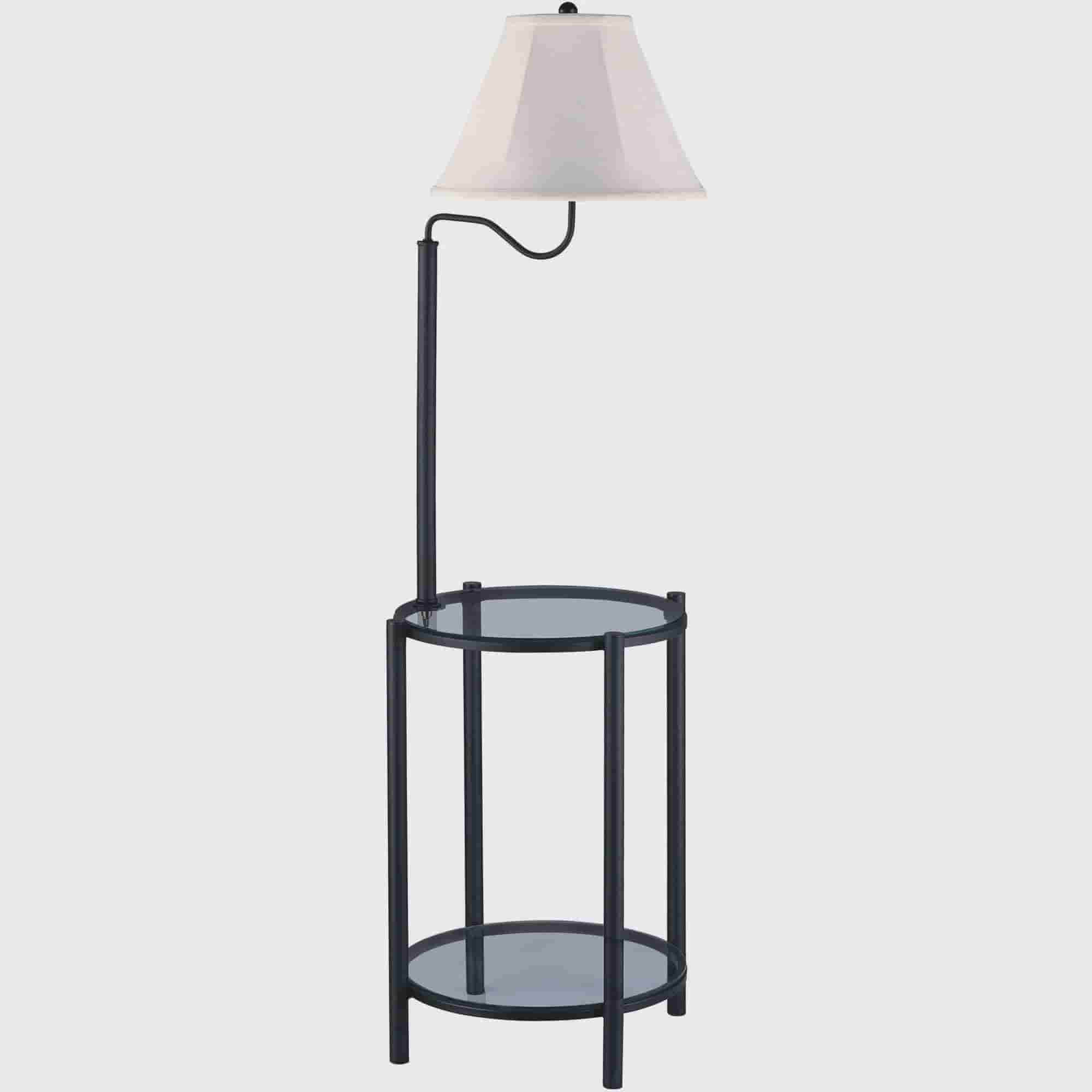 Mainstays Glass End Table Floor Lamp, Matte Black, CFL Bulb ...
