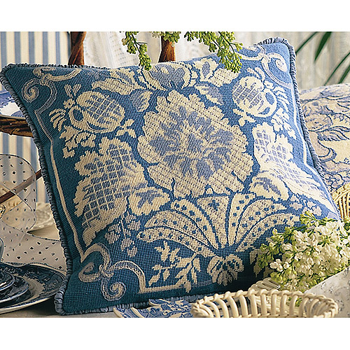 "Maia 18th Century Damask Blue Stitched In Wool Needlepoint Kit, 15-3/4"" x 15-3/4"""