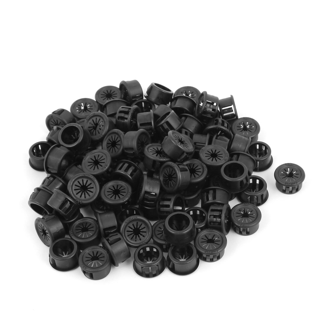 Plastic Cable Snap Locking Bushing Protector Harness Grommet Black 90 Pcs