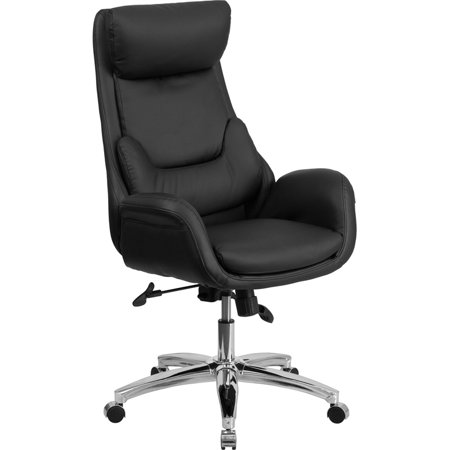 High Back Black LeatherSoft Executive Swivel Office Chair with Lumbar Pillow