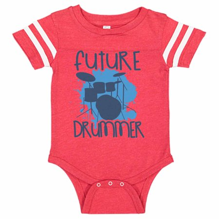 "Cute Musical Instrument Baseball Bodysuit Raglan ""Future Drummer"" Newborn Drum Set Shirt Gift - Baby Tee, 6-12 months, Red & White Short Sleeve"