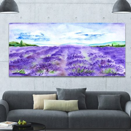Design Art 'Lavender Fields Watercolor' Photographic Print on Wrapped Canvas