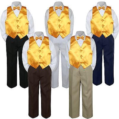 4pc Yellow Minion Vest  Bow Tie Suit Pants Set Baby Boy Toddler Kid Uniform S-7](Minion Outfits)