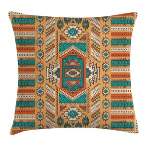 Tribal Decor Throw Pillow Cushion Cover, Indian Aztec Secret Tribe Pattern Native American Bohemian Style, Decorative Square Accent Pillow Case, 18 X 18 Inches, Apricot Orange and Teal, by Ambesonne