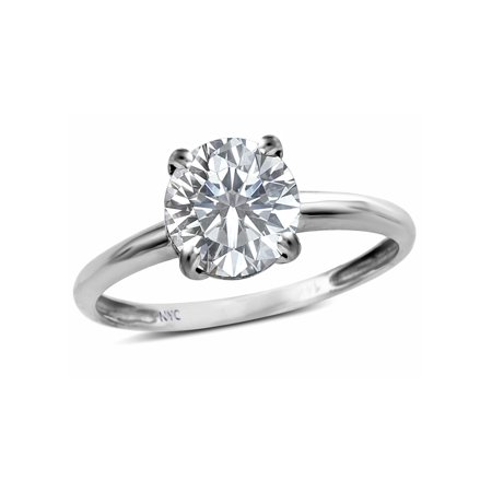 - Star K Genuine White Topaz Round 7mm Classic Solitaire Engagement Promise Ring