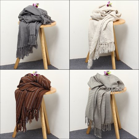 """Moaere Throw Blanket Textured Solid Soft Sofa Couch Decorative Knitted Blanket Fringe Waffle Pattern 51"""" x 63"""""""