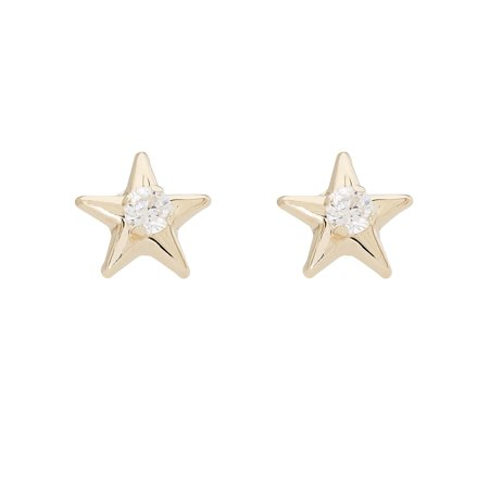 Star 14k Yellow Gold Studs (14kt Yellow Gold Star 3MM Cubic Zirconia Stud)