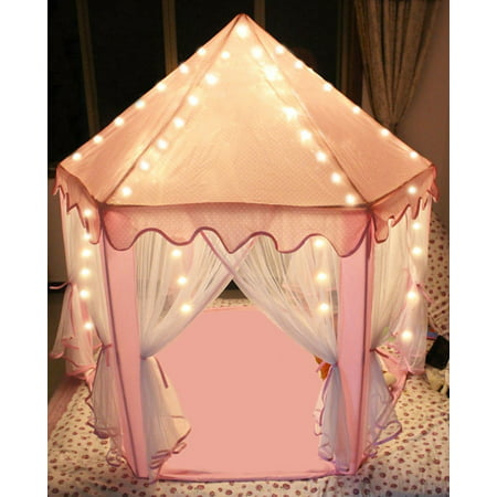 Princess Castle Tent Large Space Children Play Tent for Kids Indoor & Outdoor Pink Playhouse - Pink Tent