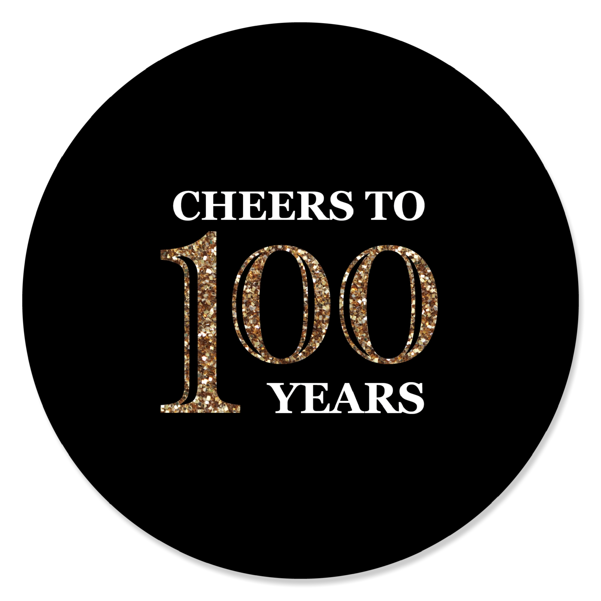 Adult 100th Birthday - Gold - Birthday Party Circle Sticker Labels - 24 Count