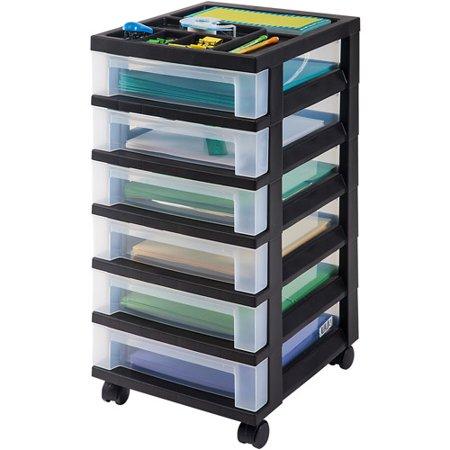 iris 6 drawer rolling storage cart with organizer top black. Black Bedroom Furniture Sets. Home Design Ideas