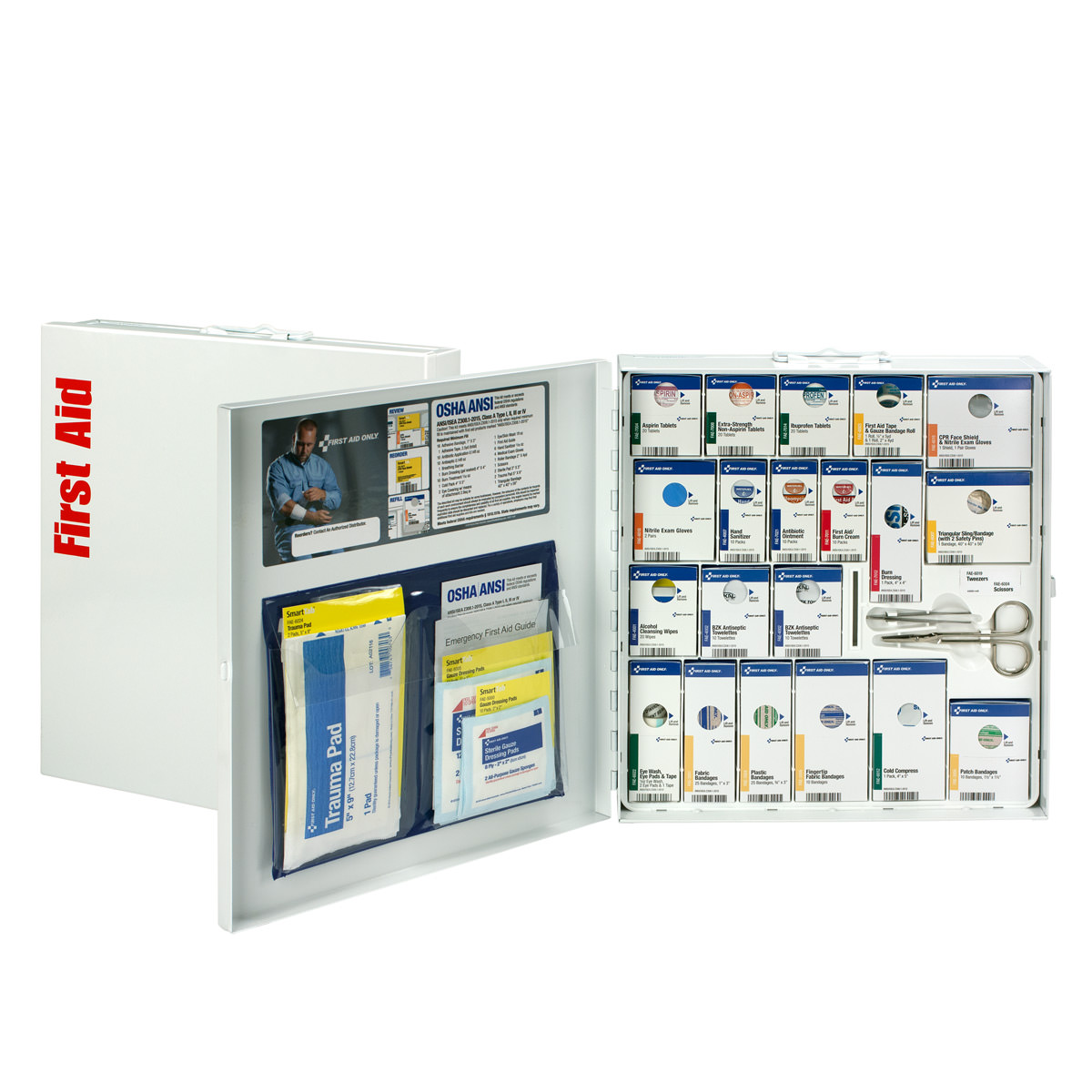 First Aid Only 50 Person Large Metal SmartCompliance First Aid Cabinet with Medications