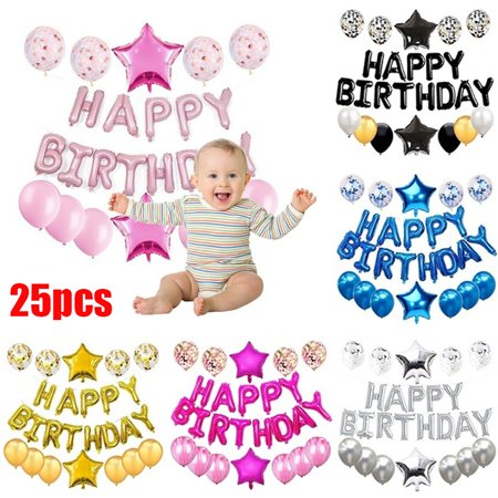 One First Birthday Balloon Decoration Kit, 1st Boy Girl  Bday Party Banner Decoration Set