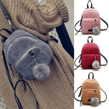 Fashion Women Girls Mini Corduroy Backpack Rucksack School Bag Travel Handbag Yellow ()