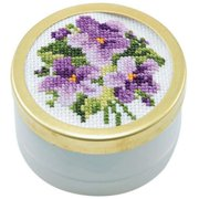 Herrschners February Violets Music Box Counted Cross-Stitch Kit