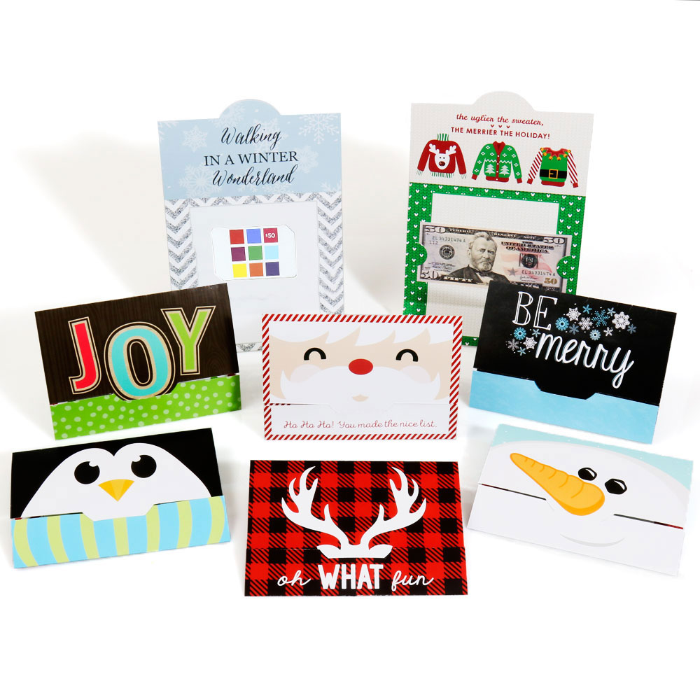 Assorted Holiday Cards - Christmas Money and Gift Card Holders - Set of 8