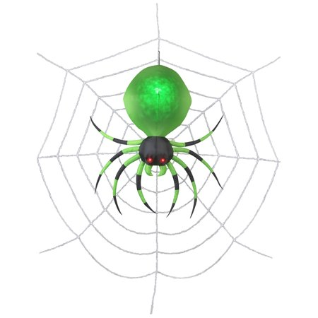 2' Projection Airblown Green Spider on the Web Halloween - Homemade Halloween Spider Web