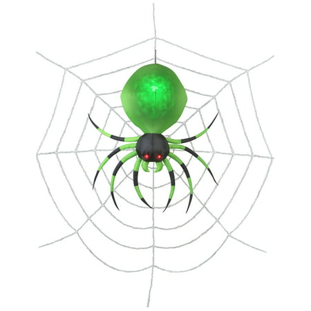 2' Projection Airblown Green Spider on the Web Halloween Inflatable](Inflatable Halloween Spider)