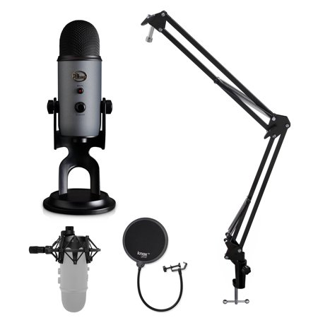 Blue Microphone Yeti USB Microphone with Knox Shock Mount, Stand and Pop