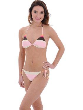 2feb1e600605d Product Image Juniors Striped String Triangle Swimsuit Pink Brown Bikini  Bottoms 2 Piece Set