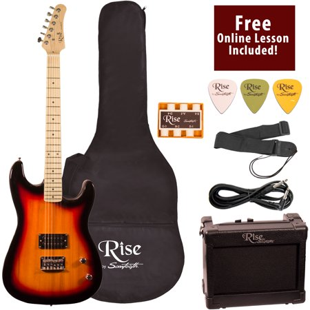 Rise by Sawtooth Right-Handed Full Size Beginner's Electric Guitar with Gig Bag Soft Case, Amp & Accessories, Sunburst