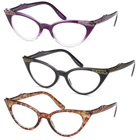 GAMMA RAY READERS 3 Pairs Ladies' Vintage Cat Eye Readers Quality Reading Glasses for Women - With +1.00 Magnification - Cat Eye Glasses Frames