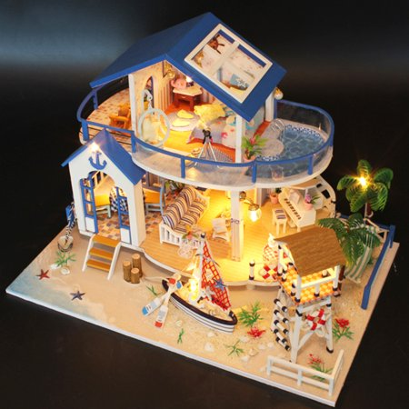 DIY LED Dollhouse Sea Miniature Villa With Furniture Wooden Model Kits Toys  Kids Gift
