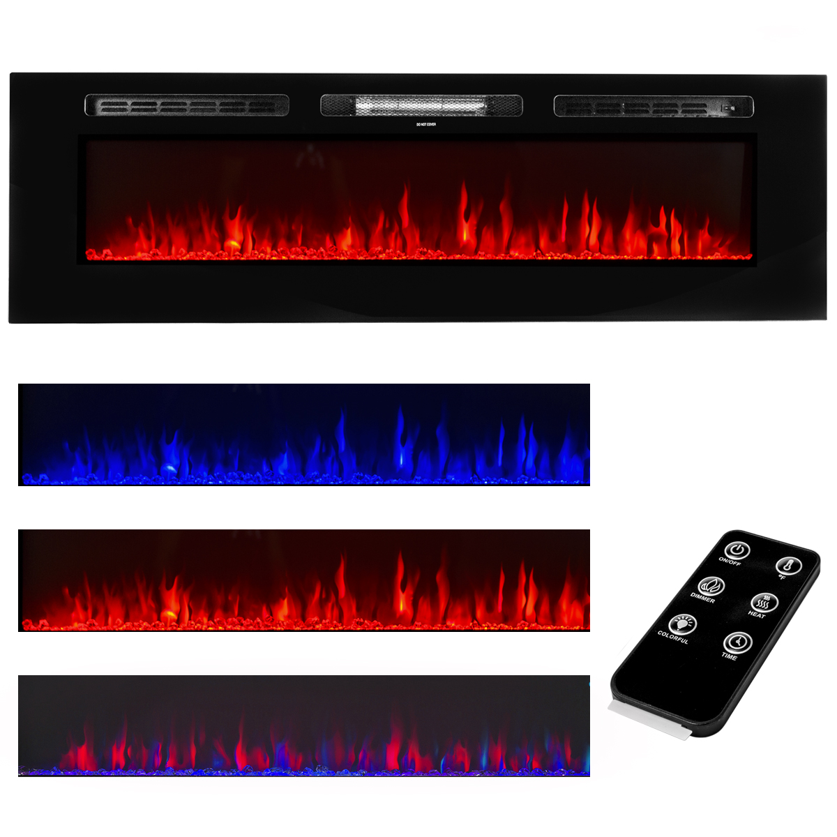 "XtremepowerUS 60"" 1500W In-Wall Recessed Electric Fireplace Heater w/Remote Control"