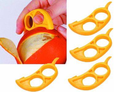 4 pack Orange Citrus Peeler EZpeel Brand 2 Hole Style Tool by RawNori