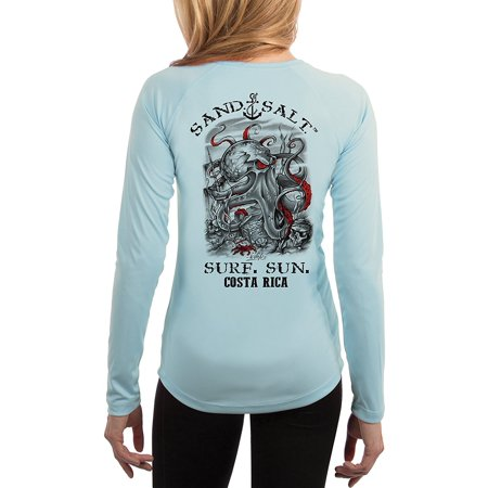 Costa Rica Ladies (Costa Rica Octopus Treasure Women's UPF 50+ Sun Protection Long Sleeve T-Shirt)
