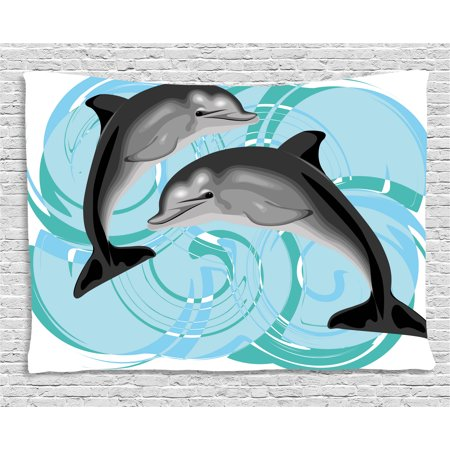 Dolphin Tapestry  Digital Image Of Abstract Ocean Themed Nautical Life Two Dolphin Friends Sea Print  Wall Hanging For Bedroom Living Room Dorm Decor  80W X 60L Inches  Multicolor  By Ambesonne