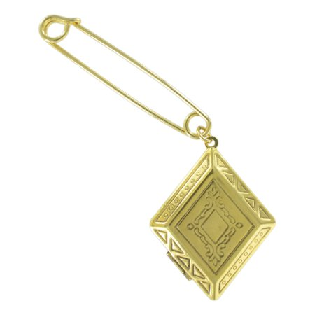 "Safety Pin Brooch 2"" Antiqued Gold Tone Diamond Shaped Photo Locket Charm Dangle End"