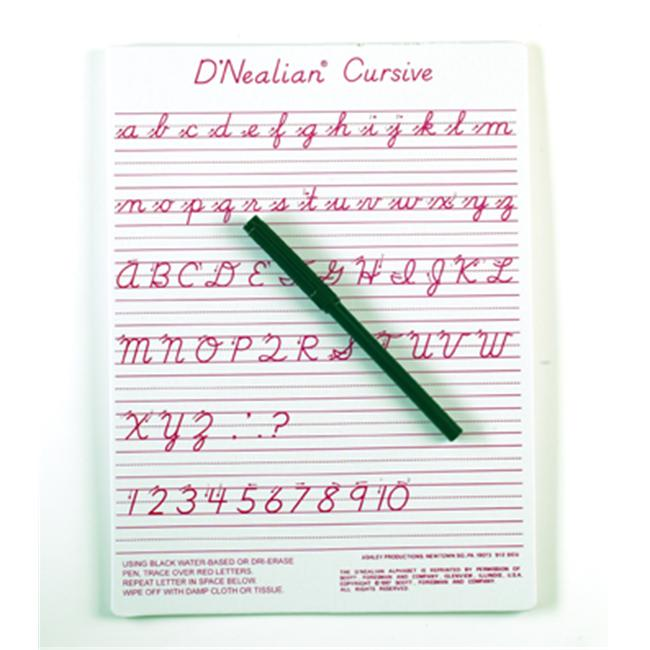 Ashley Productions ASH912DCU Dnealian Cursive Write-On-Wipe-Off- Board 9 X 12