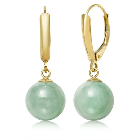 10mm Dyed Green Jade 14kt Yellow Gold Lever-back (Dyed Jade Earrings)