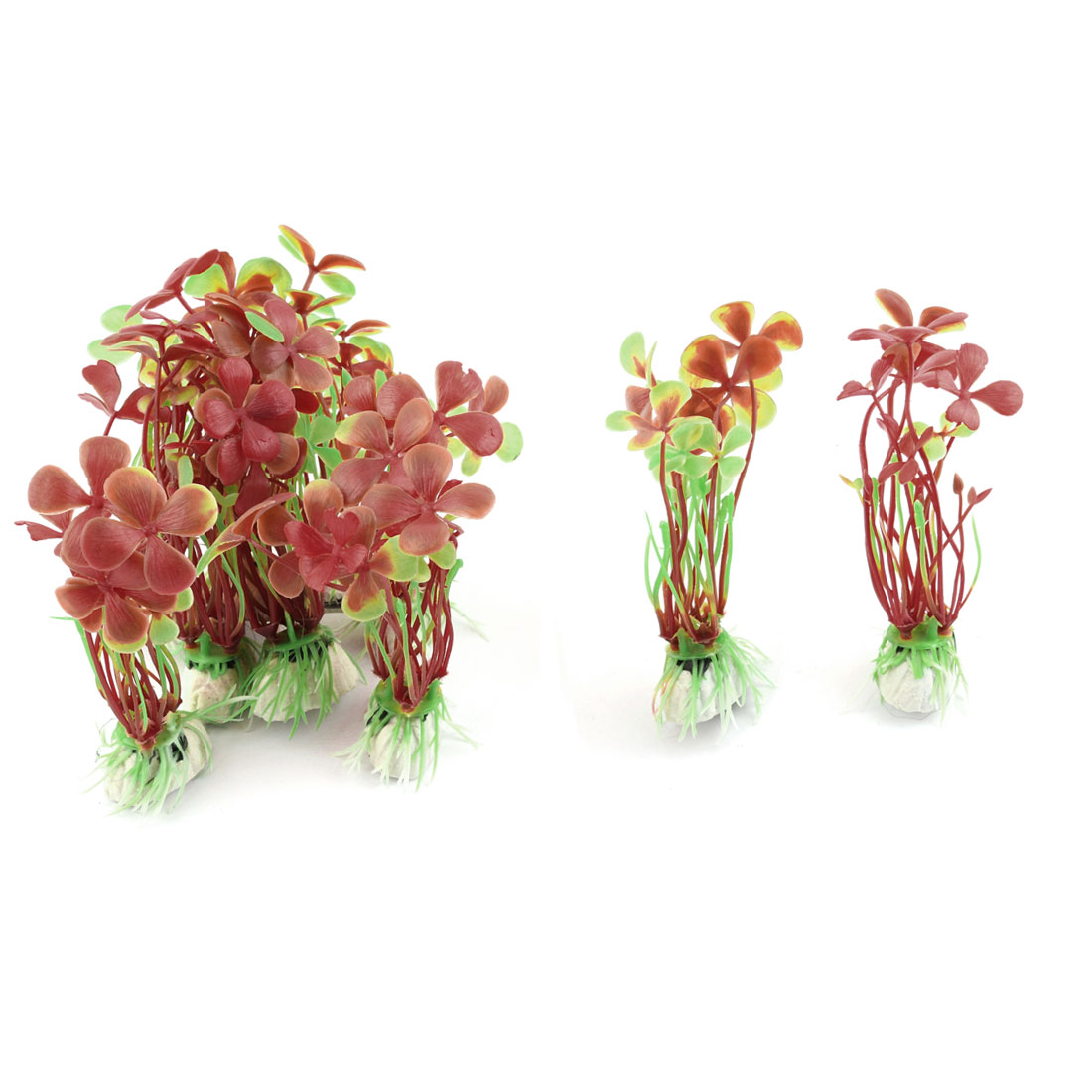 Fish Tank Aquarium Ceramic Base Imitation Grass Plant Ornament Tricolor 10pcs