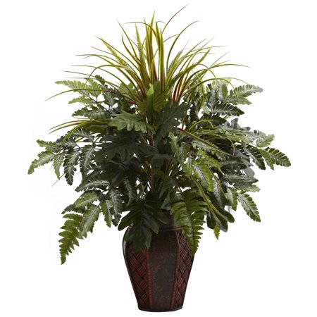 Nearly Natural Mixed Grass and Fern Silk Plant with Decorative Planter