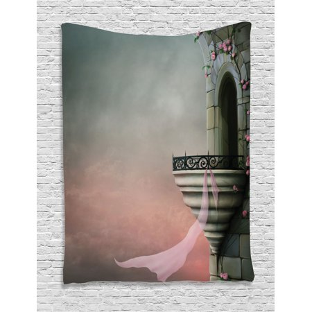 Gothic Decor Wall Hanging Tapestry, Old Fantastic Tower With Medieval Style Balcony And Rose Ivy Gothic Horror Fiction Print, Bedroom Living Room Dorm Accessories, By Ambesonne
